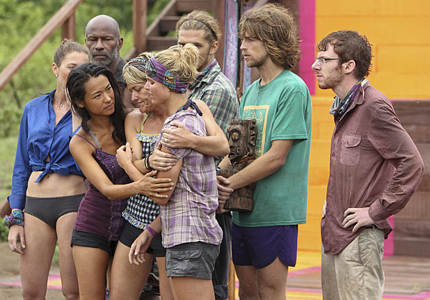 "Survivor: Caramoan - Fans vs Favourites: ""Persona Non Grata. Brenda Lowe and Dawn Meehan comfort Andrea Boehlke of the Bikal Tribe during the fifth episode."