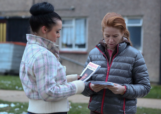 Bianca and Whitney hand out flyers and ask people for any information on Liam's whereabouts.