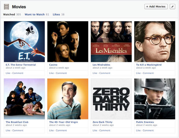 Facebook's redesigned sections for user profiles, enabling one place to add music, movies, TV shows and books alongside your photos and friends
