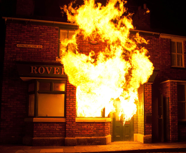 The Rovers Return goes up in flames on 'Coronation Street'