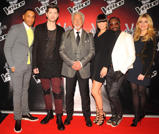 Reggie Yates, Danny O'Donoghue, Tom Jones ,Jessie J, will.i.am and Holly Willoughby at the launch of latest series of BBC talent show, The Voice, at the Soho Hotel in London.