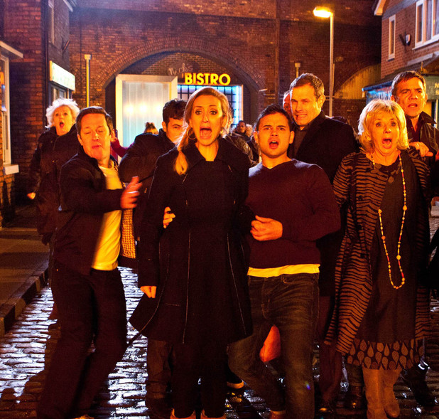 The residents are in shock as The Rovers Return goes up in flames on 'Coronation Street'
