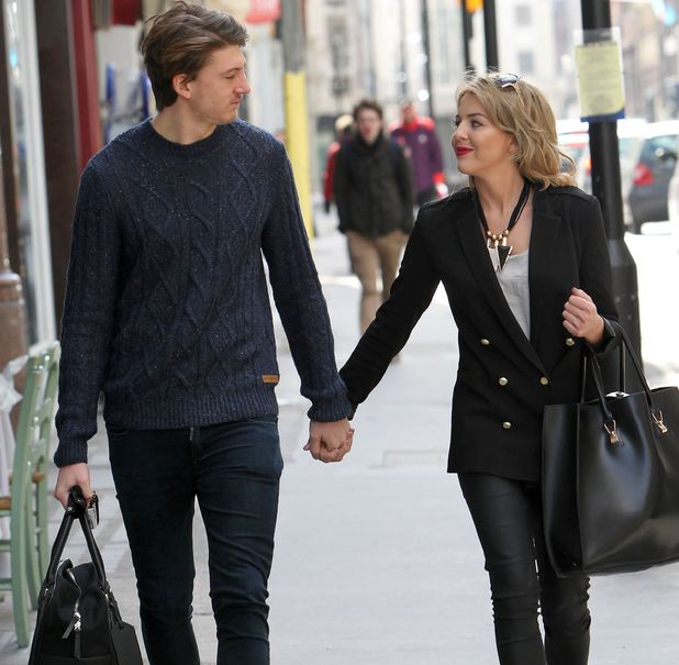 Lydia Bright debuts her new hair while out on the street with Tom Kilbey.