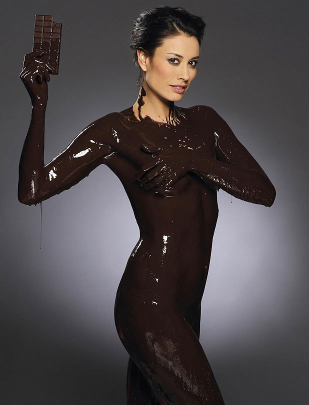 Melanie Sykes naked covered in chocolate for Shape Smart campaign.