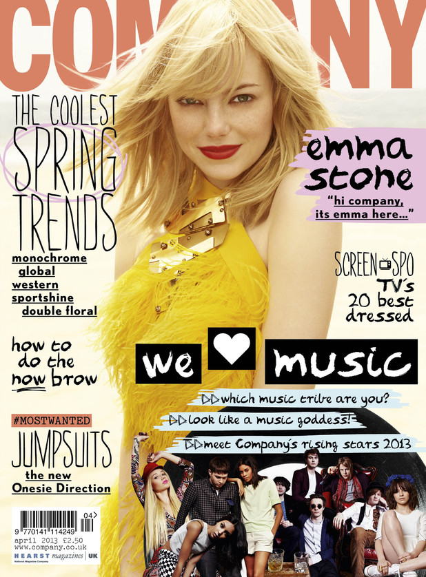 The front cover of Company magazine, April 2013 issue, featuring Emma Stone