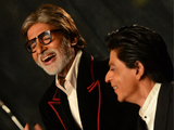Amitabh Bachchan and Shah Rukh Khan at a photo shoot for Filmfare cover 