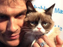 Vampire Diaries star poses with internet-famous miserable feline.