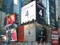 "LG runs Times Square billboard stating its Optimus G phone is ""here 4 you now""."