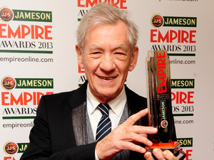 Sir Ian Mckellen with the Best Science Fiction Fantasy award for The Hobbit