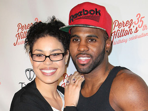 Jordin Sparks and Jason Derulo attend Perez Hilton&#39;s 35th birthday party at El Rey Theatre.