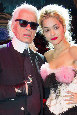 Chanel's creative director Karl Lagerfeld and Rita Ora at the 'Bal De La Rose Du Rocher' in Monte-Carlo.