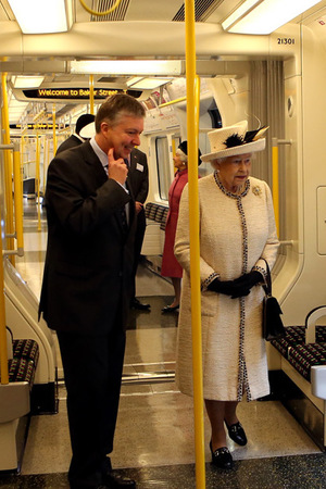 Queen Elizabeth II during a visit to Baker Street Tube Station in London to mark 150th anniversary of the London Underground