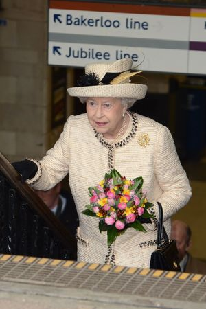 Queen Elizabeth II during a visit to Baker Street tube station
