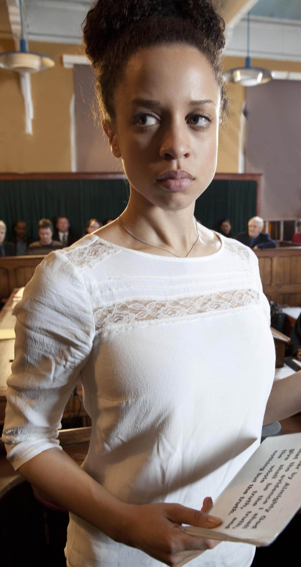 As Tyrone Dobbs' trial begins the prosecution paint Tyrone to be an evil, calculating wife-batterer. Kirsty Soames takes the witness box and lies through her teeth, telling the jury how she suffered months of violent abuse.