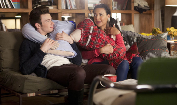 Kurt (Chris Colfer) and Santana (Naya Rivera) hang out in Glee S04E17: 'Guilty Pleasures'