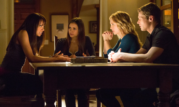 Kat Graham as Bonnie, Nina Dobrev as Elena, Candice Accola as Caroline, and Zach Roerig as Matt in The Vampire Diaries S04E15: 'Stand By Me'