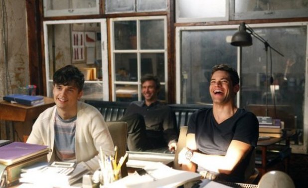 Andy Mientus as Kyle Bishop, Jack Davenport as Derek Wills, Jeremy Jordan as Jimmy Collins in Smash S02E07: 'Musical Chairs'