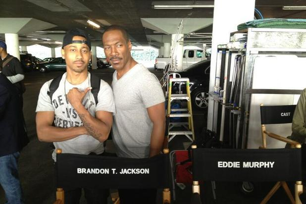 Brandon T Jackson and Eddie Murphy on-set for 'Beverly Hills Cop' TV pilot