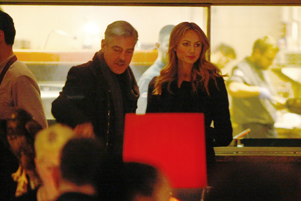 George Clooney and Stacy Keibler arriving at Grill Royal restaurant for dinner in Berlin, Germany (16.03.2013)