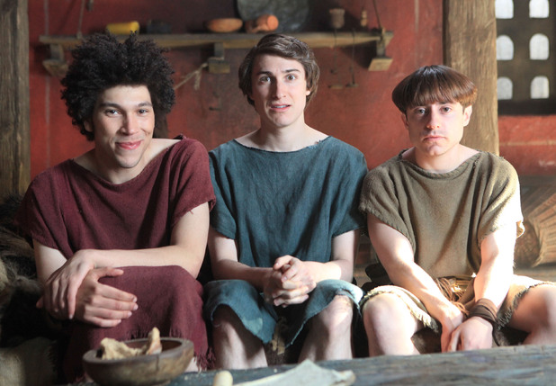 Plebs - Episode 1, Season 1: Joel Fry as Stylax, Tom Rosenthal as Marcus and Ryan Sampson as Grumio.