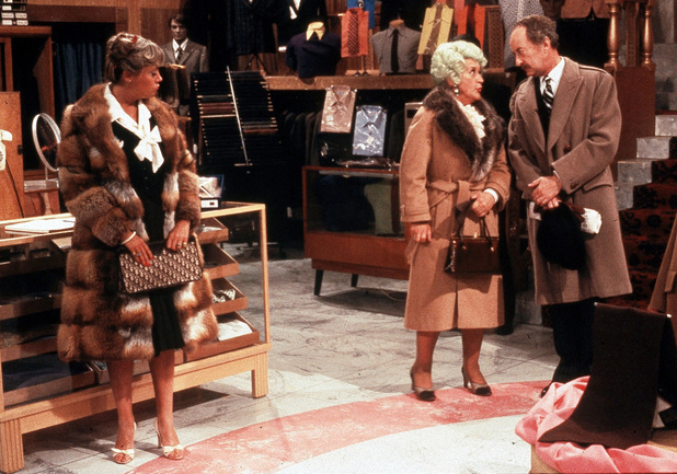 Wendy Richard, Mollie Sugden, Frank Thornton in 'Are You Being Served?' 1972-1985
