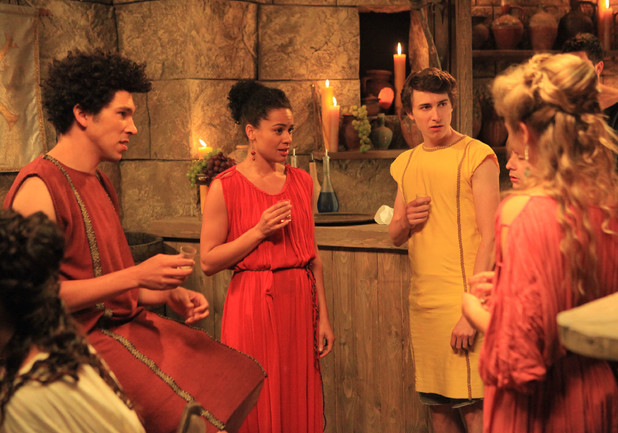 Plebs - Season 1, Season 3: Joel Fry as Stylax, Naomi Bentley as Lucretia and Tom Rosenthal as Marcus