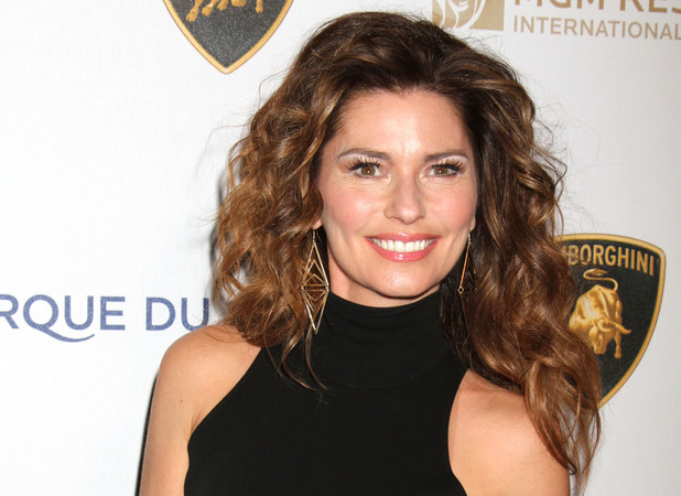 Shania Twain arrives at the Bellagio Hotel and Casino to watch Cirque Du Soliel's One Drop Gala.