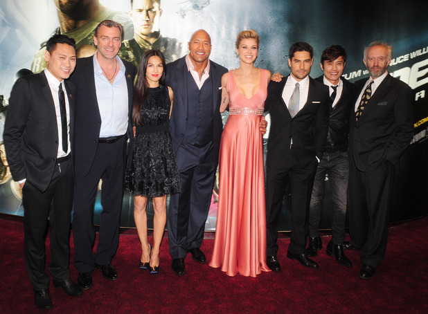 Jon M.Chu, Ray Stevenson, Elodie Yung,Dwayne Johnson, Adrianne Palicki, D.J. Cotrona, Byung Hun-Lee and Jonathan Pryce arrive for the UK premiere of GI Joe: Retaliation at the Empire Cinema in London