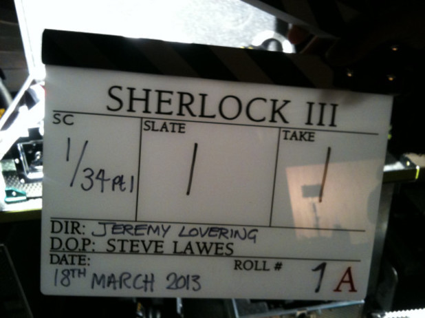 'Sherlock' clapperboard for series 3 episode 1 posted by Mark Gatiss