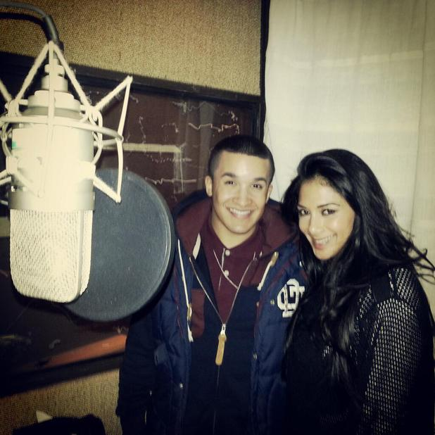 Nicole Scherzinger, Jahmene Douglas in the studio