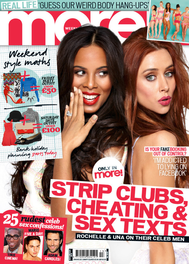 Rochelle and Una of The Saturdays on the front cover of More! magazine