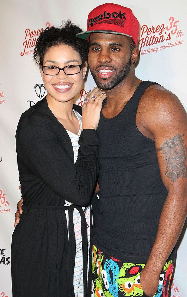 Jordin Sparks and Jason Derulo attend Perez Hilton's 35th birthday party at El Rey Theatre.