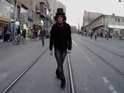Messe Kopp films himself walking backwards in Jerusalem before reversing it.