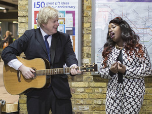 Boris Johnson, Misha B, launch Gigs 2013, London Bridge tube station