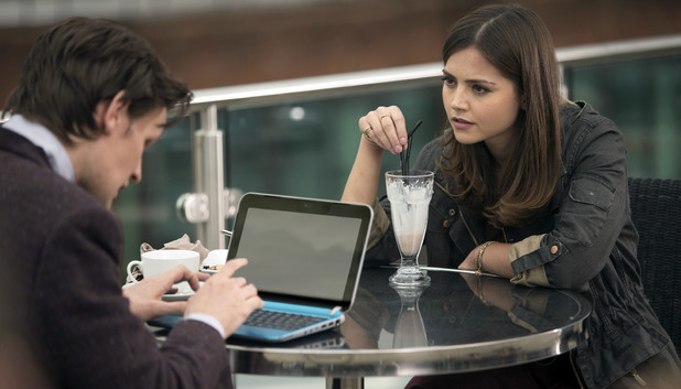Clara (Jenna-Louise Coleman) and The Doctor (Matt Smith) in Doctor Who: 'The Bells of St John'