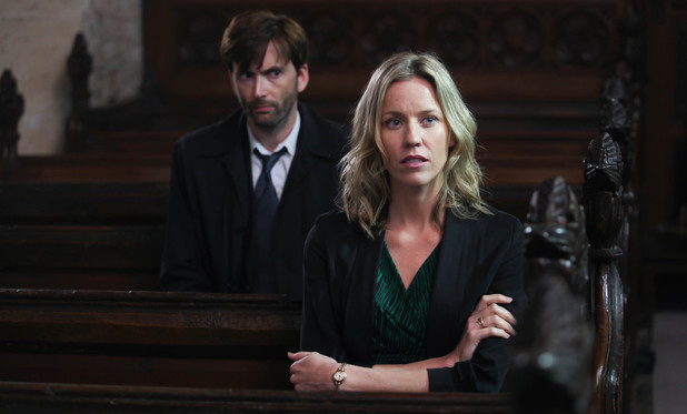 David Tennant as Alec Hardy and Simone McAuley as Becca Fisher in Broadchurch Episode 4