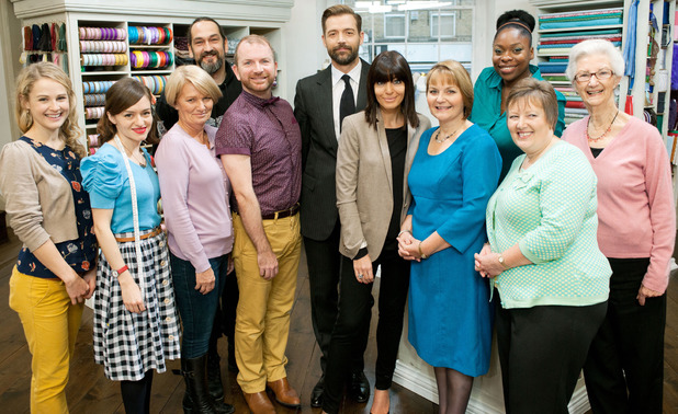 Presenters and contestents on The Great British Sewing Bee