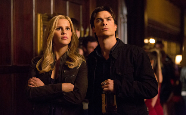 Claire Holt as Rebekah and Ian Somerhalder as Damon in The Vampire Diaries S04E16: 'Bring It On'