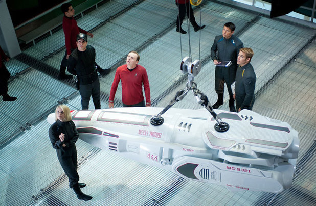 Alice Eve, Simon Pegg, Karl Urban and Chris Pine in 'Star Trek Into Darkness'