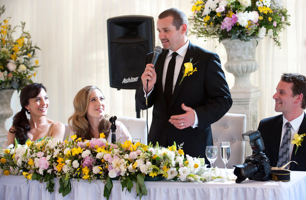 Toadie says a speech at the wedding