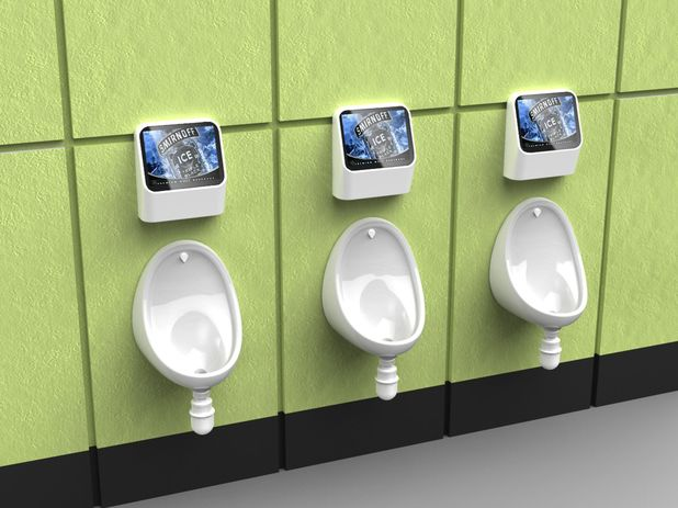 Hands-free urinal video games