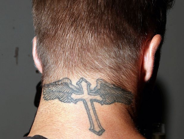 David Beckham, winged tattoo, neck tattoo