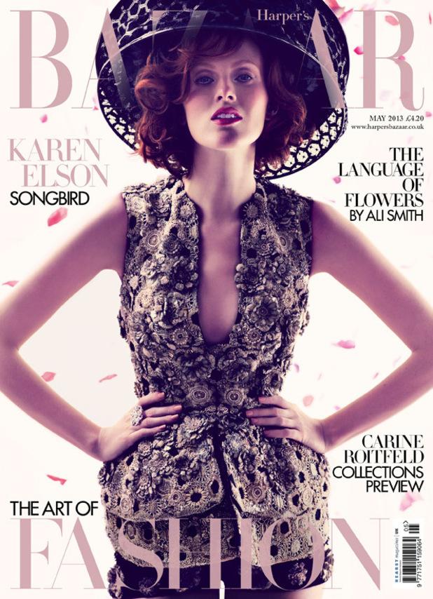 Karen Elson on the cover of Harper's Bazaar