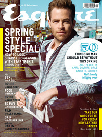 Chris Pine on the cover of Esquire magazine, May edition