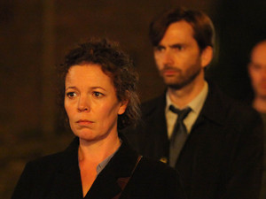 Olivia Colman as Ellie Miller and David Tenant as Alec Hardy in 'Broadchurch' Episode 5