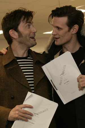 David Tennant and Matt Smith at 'Doctor Who' 50th read-through