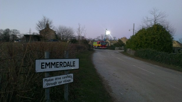 Fire engine at the Emmerdale village