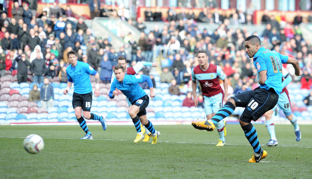 Nottingham Forest's Lewis McGugan scores against Burnley