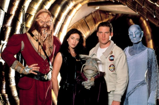 Farscape cast: Anthony Simcoe, Claudia Black, Dominar Rygel XVI, Ben Browder, Virginia Hey - broadcast from 1999-2003