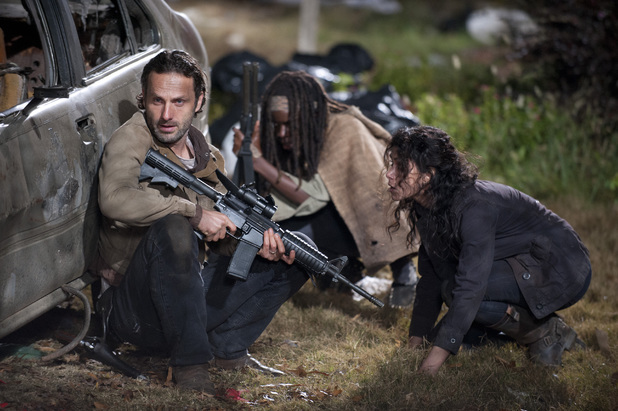 Rick Grimes (Andrew Lincoln), Michonne (Danai Gurira) and Karen (Melissa Ponzio) in The Walking Dead S03E16: 'Welcome to the Tombs'